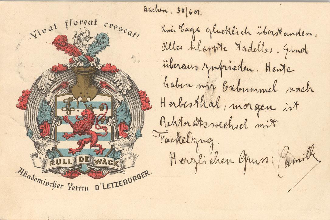 "Camille an Arthur Keiffer 1901 – Postkarte ""Reichert 1"""