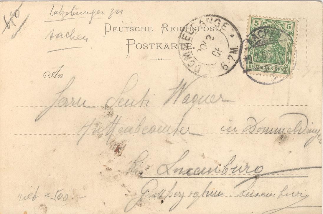 "Postkarte ""Reichert"" 1905 – Rückseite"