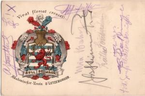 Eine Postkarte mit dem Wappen des AVL mit vielen Aufschriften