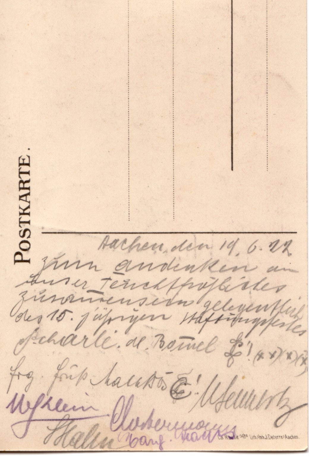 Rückseite PK Klopp 1922