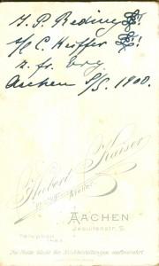 J.P. Reding L! s/l C. Keiffer L! z. frdl. Erg. Aachen S/S 1900