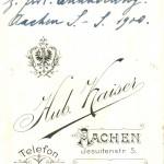L. Ackermann L! s.l. C. Keiffer L! z. frdl. Erinnerung. Aachen S.-S. 1900.