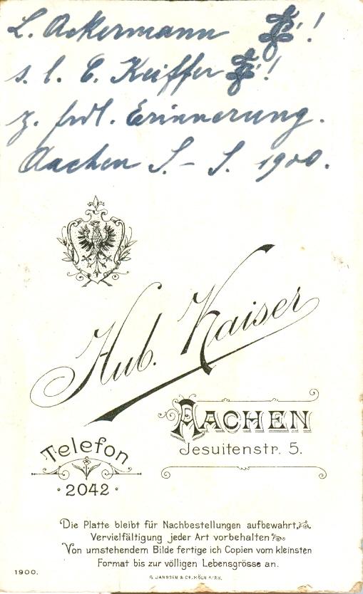 Rückseite L. Ackermann s/l C. Keiffer im SS 1900