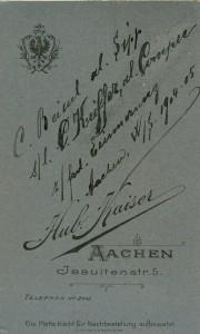Handschriftliche Eintragung:C. Beissel al. Sipp s/l C. Keiffer al. Comper z/frdl Erinnerung Aachen, W/S 1904/05