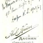 beschriftete Bildrückseite:N. Wagner al. Schotz L! (xxx)(xx) x s/l Cam. Keiffer z frdl. Erg. Aachen W.S. 1902/03