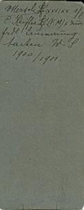 V. Mersch L! (xxx) xx s/l C. Keiffer L! (FM) x zur frdl Erinnerung. Aachen W.S. 1900/1901