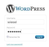 Loginfënster an de WordPress