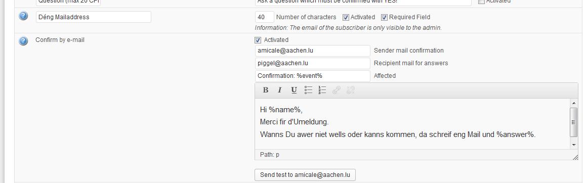 optional Emailaddress