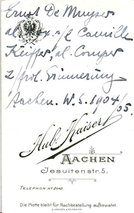 Rückseite Portait Ernst De Muyser Bild Nr.0043