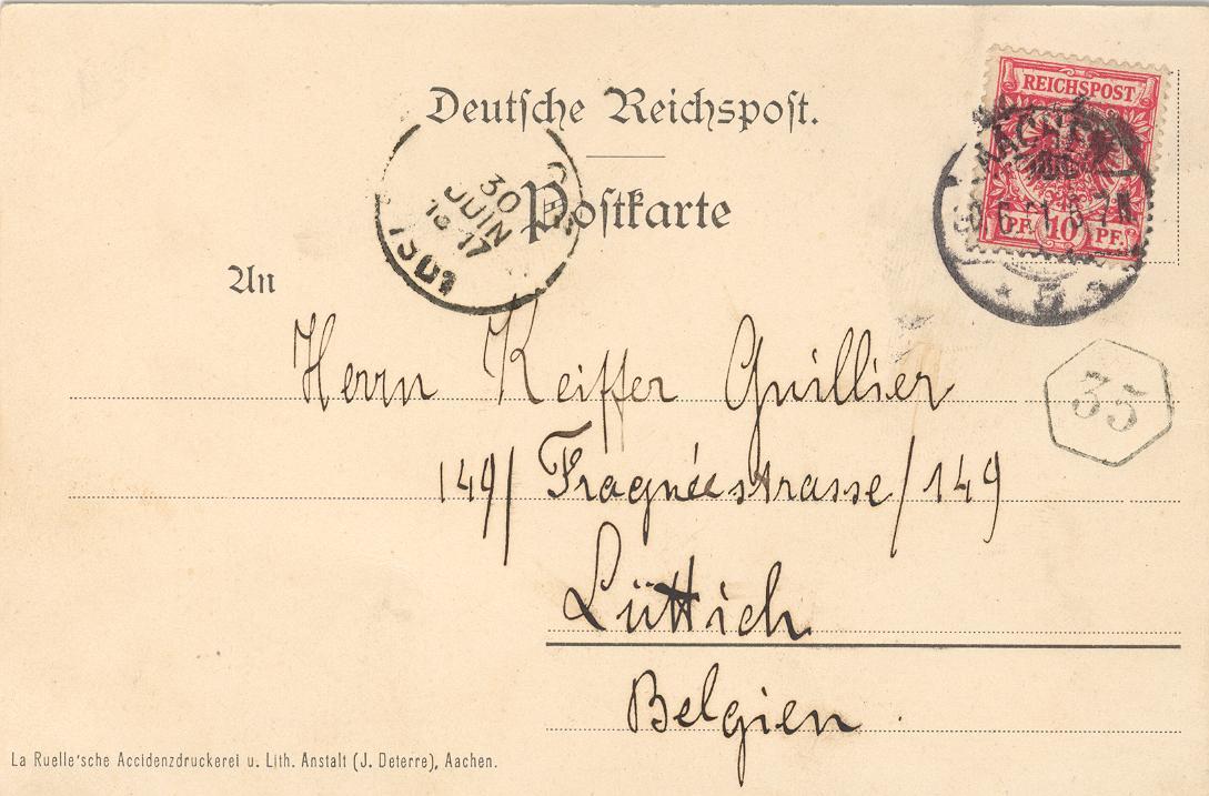 Camille Keiffer an seinen Bruder 1901 – Rückseite