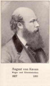 Porträt von August von Kaven. Ein kahlköpfiger Mann mit Vollbart und Brille im Profil, blickt nach rechts