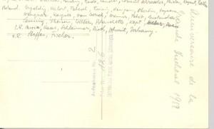 Rückseite des Fotos Konsul 1952, mit handschriftlicher Hinterlassung der Namen