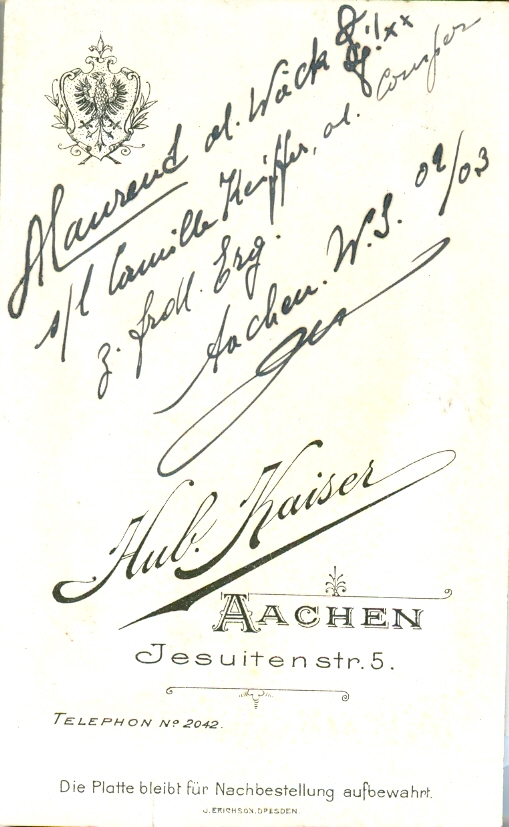 Rückseite Portrait Alphonse Laurent