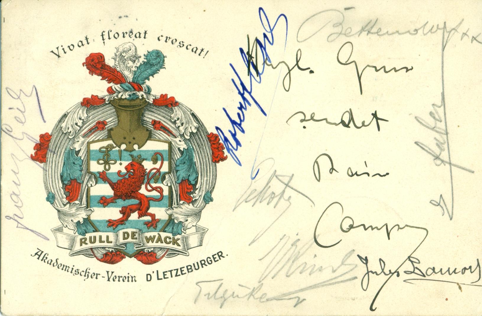 Postkaart vum AVL 1907 – Avers