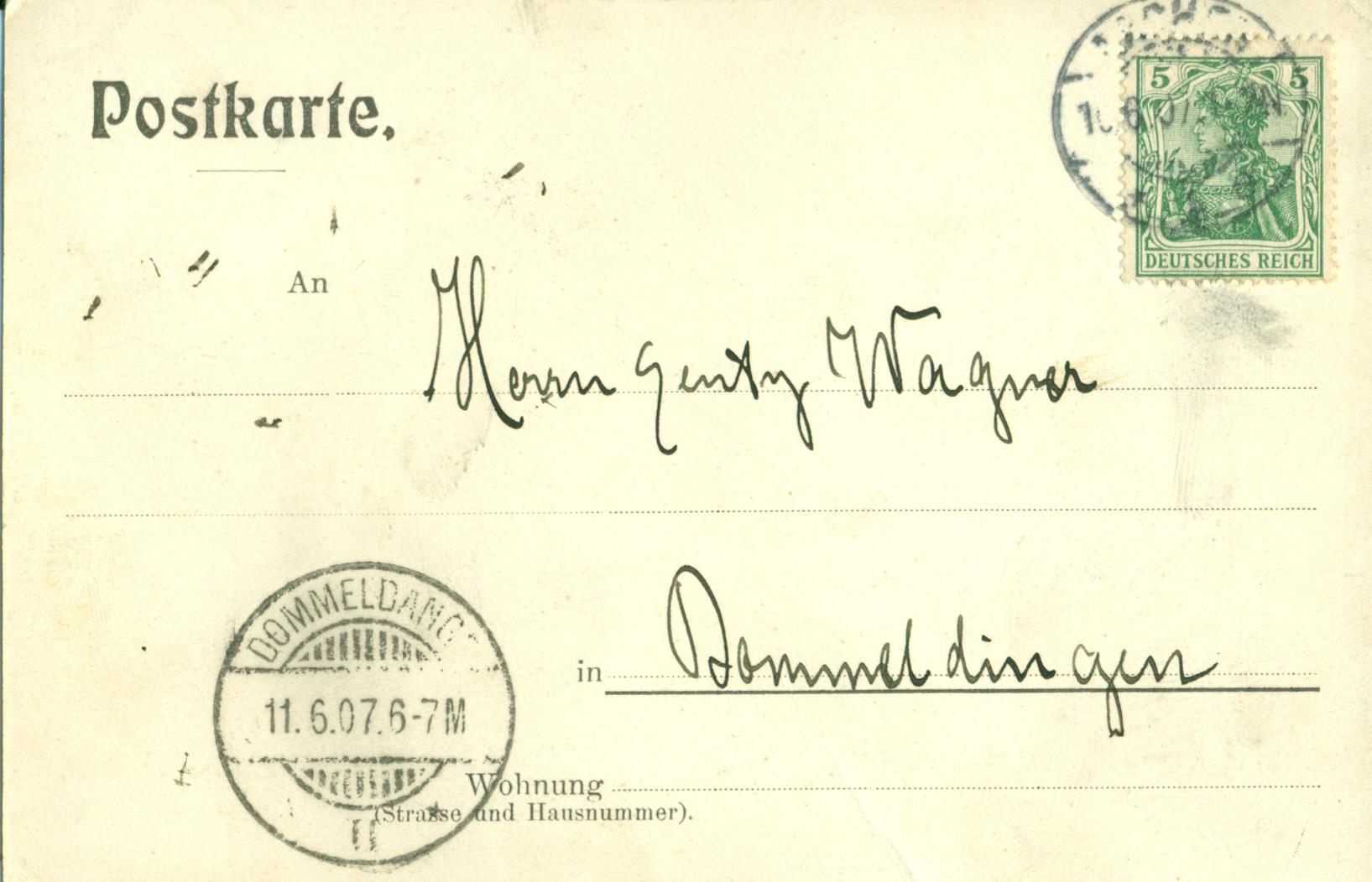 Postkaart vum AVL 1907 Récksäit