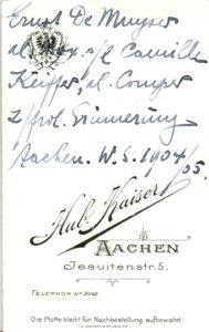 Ernst De Muyser al Boy, s/l Camille Keiffer, al. Comper z/frdl Erinnerung Aachen W.S. 1904/05