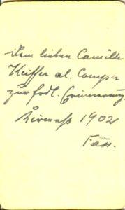 Dem lieben Camille Keiffer al. Comper zur frdl Erinnerung ??? 1902 Fass